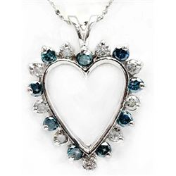 Blue & White Diamond 1.50 ct Soild Gold Heart Pendant