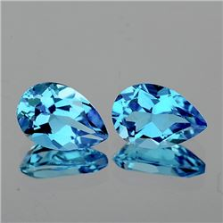Natural  Sky Blue Topaz Pair 10 x 7 MM - VVS