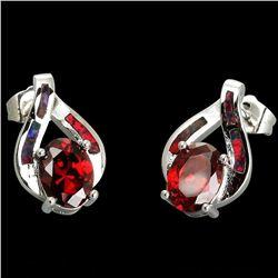 Natural Mozambique Garnet & Opal Earrings