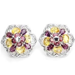 Natural PINK RHODOLITE GARNET & YELLOW CITRINE Earring