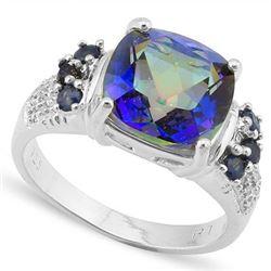 Natural Ocean Mystic, Sapphire & Diamond 8.32 ct Ring