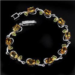 Natural Oval Citrine Chrome Diopside 65 Carats Bracelet