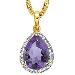Natural Amethyst & Diamond 3.75 carats Pendant