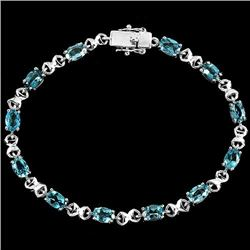 Natural SKY Oval BLUE TOPAZ  Bracelet