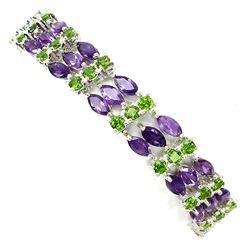 NATURAL PURPLE AMETHYST-CHROME DIOPSIDE BRACELET