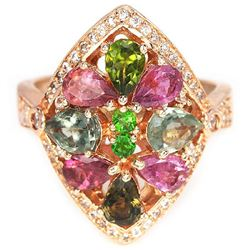 NATURAL MULTI COLOR TOURMALINE CHROME DIOPSIDE Ring