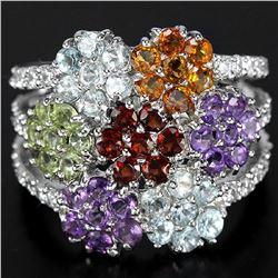 Natural Multi Gemstones Flower Ring