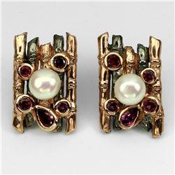 Natural  Pearl & Rhodolite Garnet Earrings