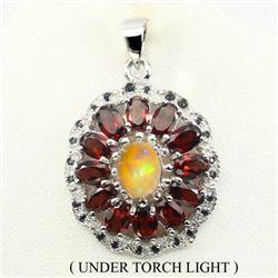Natural White Opal, Garnet & Sapphire Pendant