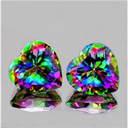 Natural Mystic topaz Heart Pair 7 MM - Flawless