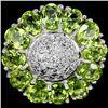 Natural Green Peridot 25 Carats Flower Ring
