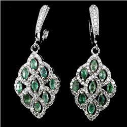 Natural Rich Green Emerald 44.89 Ct Earrings