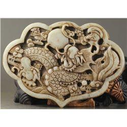 Old Chinese Jade Natural Dragon Pendant