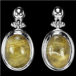 Natural Gold Rutilated Quartz Earrings
