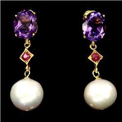 Natural Ruby Amethyst & Japanese Pearl Earings