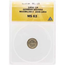 1850 Germany-Bavaria Maximilian II 1 Kreuzer Coin ANACS MS63