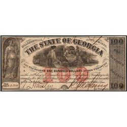 1864 $100 The State of Georgia Confederate Note