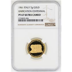 1961 Italy 7 Gram Unification Centennial Gold Coin NGC PF67 Ultra Cameo