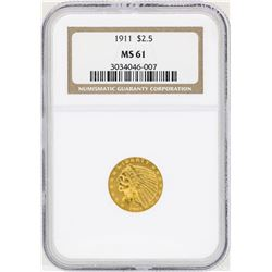 1911 $2 1/2 Indian Head Quarter Eagle Gold Coin NGC MS61