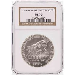 1994-W $1 Women Veterans Commemorative Silver Dollar Coin NGC MS70