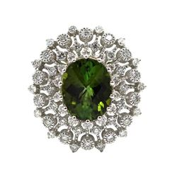 14KT White Gold Certified 2.71 ctw Natural Oval Cut Green Tourmaline and Diamond