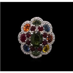 14KT White Gold 7.21 ctw Multi Gemstone and Diamond Ring
