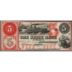 1800's $5 The State Bank of Michigan Obsolete Note