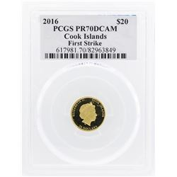 2016 $20 Cook Islands Gold Coin PCGS PR70DCAM First Strike Reagan Legacy