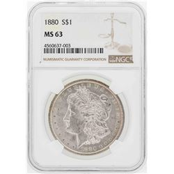 1880 $1 Morgan Silver Dollar Coin NGC MS63