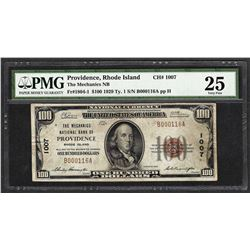 1929 $100 The Mechanics National Bank of Providence Note CH# 1007 PMG Very Fine