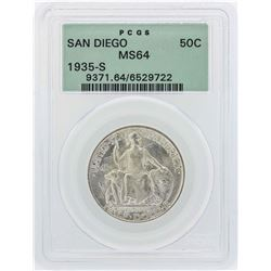 1935-S San Diego Commemorative Half Dollar Coin PCGS MS64