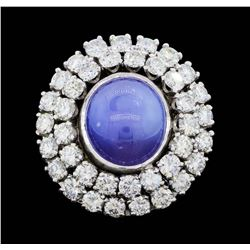 14KT White Gold 8.10 ct. Natural Blue Star Sapphire and Diamond Ring