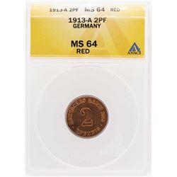 1913-A Germany 2 Pfennig Coin ANACS MS64RD