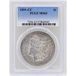 1891-CC $1 Morgan Silver Dollar Coin PCGS MS63