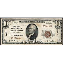 1929 $10 Peoples-First National Bank of Charleston Currency Note CH# 1621