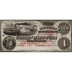 1860's $4 The State of Missouri Defence Bond Obsolete Note