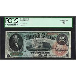 1869 $2 Rainbow Legal Tender Note Fr.42 PCGS Extremely Fine 40
