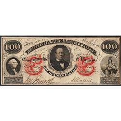 1862 $100 Virginia Treasury Obsolete Note