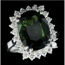 14KT White Gold 10.62 ctw Oval Cut Green Sapphire and Diamond Ring