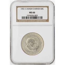 1951-S Booker T. Washington Memorial Half Dollar Coin NGC MS66