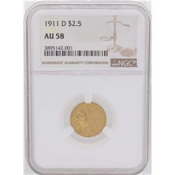 1911-D $2 1/2 Indian Head Quarter Eagle Gold Coin NGC AU58