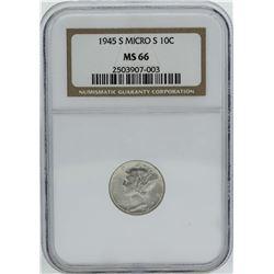 1945-S Micro S Mercury Dime Coin NGC MS66