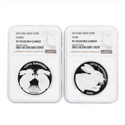 Set of (2) 2014 Belarus 20 Rubles Hares Silver Coins NGC PF70 Ultra Cameo