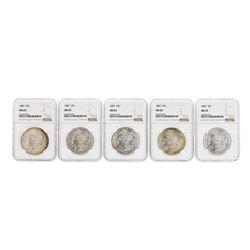 Lot of (5) 1887 $1 Morgan Silver Dollar Coins NGC MS63