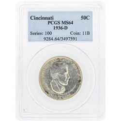 1936-D Cincinnati Music Center Commemorative Half Dollar Coin PCGS MS64