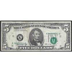 1974 $5 Federal Reserve Note Misaligned Overprint ERROR