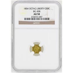 1854 Octagon Liberty Head Half Dollar Gold Coin NGC AU58