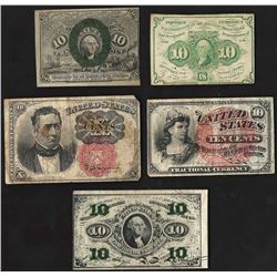 Set of (5) Ten Cent Fractional Currency Notes