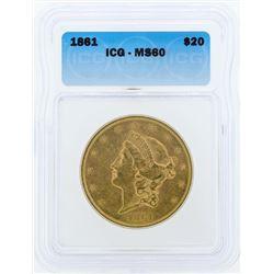 1861 $20 Liberty Head Double Eagle Gold Coin ICG MS60