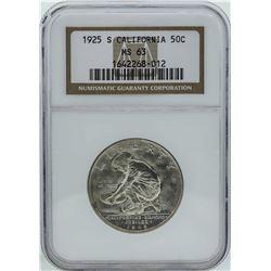 1925-S California Diamond Jubilee Commemorative Half Dollar Coin NGC MS63